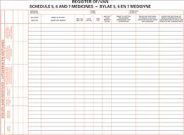 Medicines Schedule Registers Drug Register Schedule 5 6 7