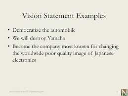 mission statement examples business lesson 1 vision and mission statements