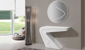 seven premium console table with mirror in white high gloss  free