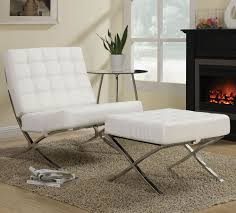 Leather Accent Chair With Ottoman Cheap Kock Off Barcelona Chair In White