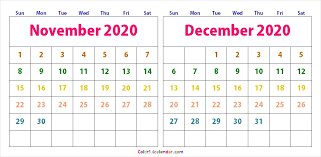 Editable November December 2020 Calendar Blank 2020 Calendar