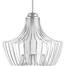 progress lighting finn collection 1 light metallic silver large pendant with etched white glass