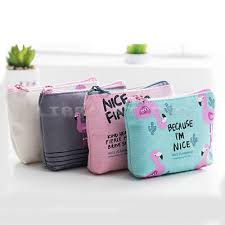 flamingo cute cosmetic makeup bag purse toiletry organizer coin pouch package