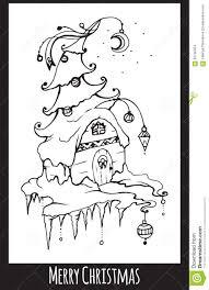Festive Black And White Christmas Card Stock Vector Illustration