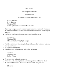 Pharmacy Assistant Curriculum Vitae Sample Templates At