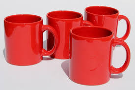 Red ceramic mug with black coffee, white coffee espresso coffee cup cafe, mug, tea, teacup png. Waechtersbach Pottery Mugs Plain Solid Red Coffee Cups Set Of Four