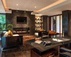 home office in living room. a home office fits nicely behind the sofa in this living room