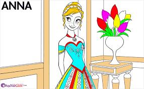 Tranh tô màu công chúa Anna xinh đẹp dành cho bé tô màu