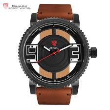 compare prices on western wrist watch online shopping buy low megamouth shark sport watch 3d special transparent dial design brand luxury brown leather waterproof men s wrist