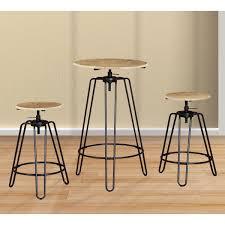 Ensemble table haute et 2 tabourets 63x96/104 cm Zoé - Dya-Shopping.fr