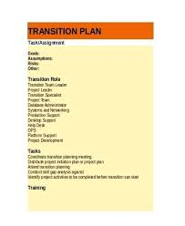 Project Transition Plan Template Job Transition Plan Template For ...