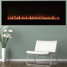 black wall mount fire and ice electric fireplace color changing flames 54in