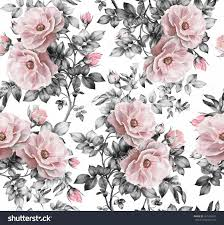 watercolor fl bedding and fresh seamless pattern with pink flowers and leaves on white background