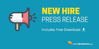 New Hire Press Release Free Download Editable Microsoft