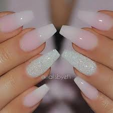 35 long nails with silver glitter