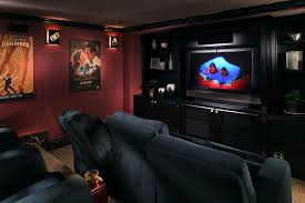Interior:Classy Theater Room Design With Black Cabinet And Red Cherry Wall  Paint Ideas Classy