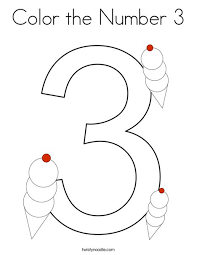 There are numbers, colours and pictures of basic vocabulary. Color The Number 3 Coloring Page Twisty Noodle