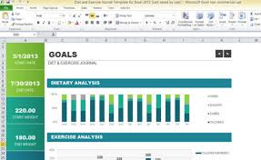 Exercise Tracking Chart Excel Diet And Exercise Journal Template For Excel 2013