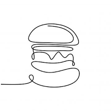 Start with horizontal dotted lines, they're easier than the vertical ones. Burger One Line Drawing Of Junk Or Fast Food Vector Illustration Continuous Hand Drawn Cheeseburger Sketch Illustration Png And Vector With Transparent Backg Line Drawing Bread Icon Burger Icon