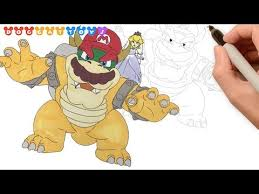 Speed Drawing Super Mario Odyssey Bowser Mario Princess Peach