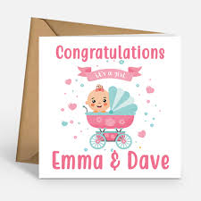 Its A Girl Congratulations Baby Girl Personalised Cards New Baby Girl Card Ebay