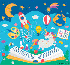 concept of kids education while reading the book open book with many supplies elements