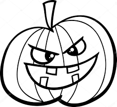 black and white cartoon ilration of jack lantern pumpkin for coloring book vector by izakowski