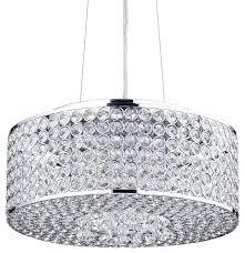 drum shade crystal chandelier round chrome view in for designs black drum shade crystal chandelier