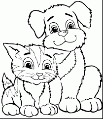 Small Picture stunning dog coloring pages and cat simple page with dog and cat