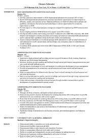 Administrative Services Manager Resume Samples Velvet Jobs