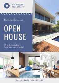 open house flyers template blue photo modern open house flyer templates by canva