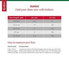 Junior Footwear Size Chart Kickers Junior Kick Kilo J Core Kids Unisex Boots