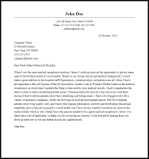 Medical Receptionist Cover Letter Professional Medical Receptionist Cover Letter Sample Writing