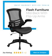 flash furniture mid back black mesh swivel task chair with flip up arms