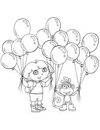 Dora Coloring Pages Printable The Explorer Balloons Dora And Friends