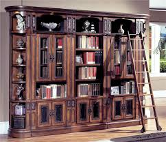 image of oak bookcases with glass doors