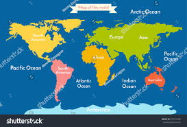 world map vector illustration inscription oceans stock throughout