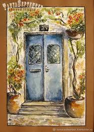 open door painting. City Handmade. Livemaster - Buy Watercolor Painting With  Passepartout OPEN DOOR. Open Door Painting B