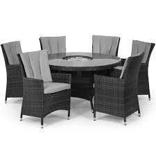 Ice Bucket Table Maze Rattan 6 Seat La Round Dining Garden Furniture Set Grey