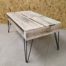 Furniture, Hairpin Leg Coffee Table And Industrial Style Rectangle  Unfinished Pallete Wooden Top To Complete