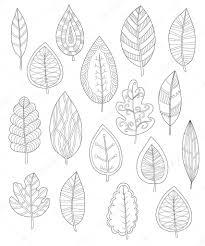 Collectie Van Bladeren Voor Kleurplaten Set Van Verschillende