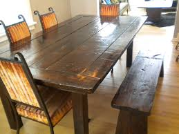 Wood Dining Table Set Bench Style Dining Table Rectangle Brown Stained Oak Wood Dining