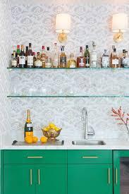 stacked glass shelves over wet bar sink