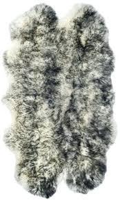 sheepskin ivory dark charcoal area rug safavieh faux 8x10 white