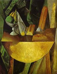 pablo picasso bread and fruit dish on a table 1909