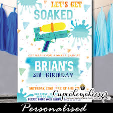 Birthday Party Evites Blue Water Gun Birthday Party Invitations