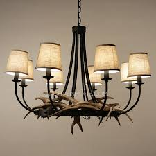 nordic 8 light fabric shade twig antler chandelier for