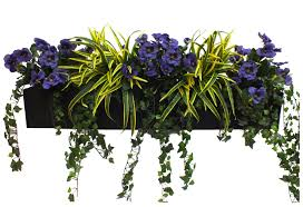 Artificial Window Artificial Pansy And Dracaena Window Box At Evergreen Direct