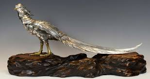 anese silvered bronze pheasant on naturalistic wooden base by masatsune