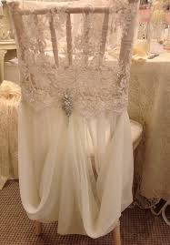 allyson james beaded lace and chiffon chair cover w brooch